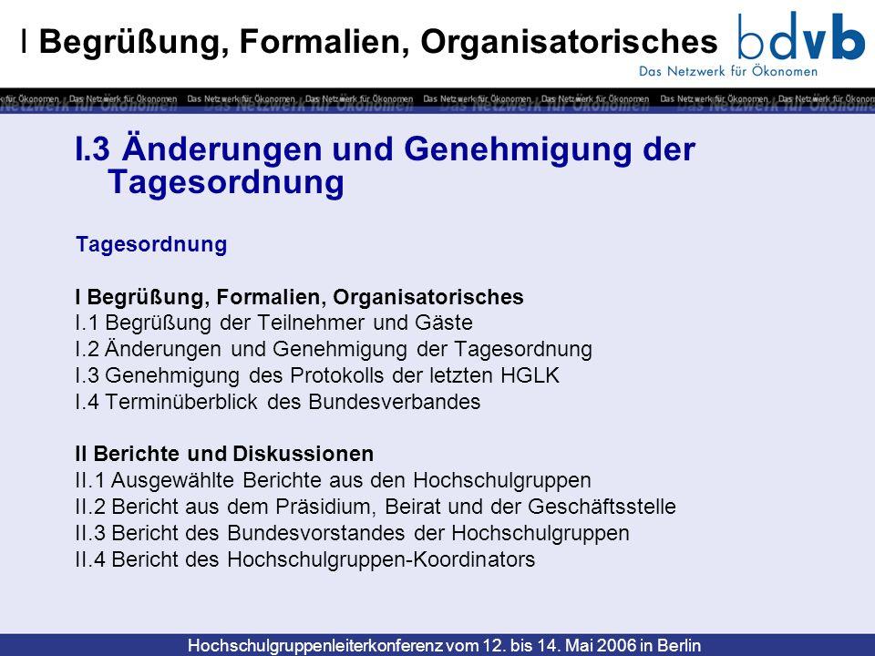 Hochschulgruppenleiterkonferenz vom 12. bis 14. Mai 2006 in Berlin I.3 Änderungen und Genehmigung der Tagesordnung Tagesordnung I Begrüßung, Formalien