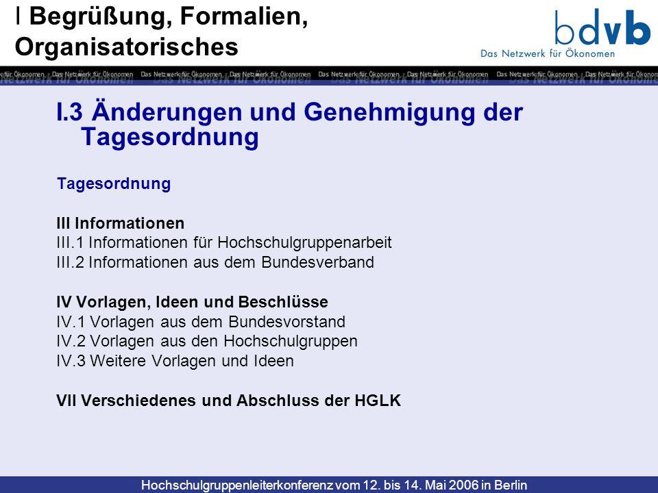 Hochschulgruppenleiterkonferenz vom 12. bis 14. Mai 2006 in Berlin I.3 Änderungen und Genehmigung der Tagesordnung Tagesordnung III Informationen III.