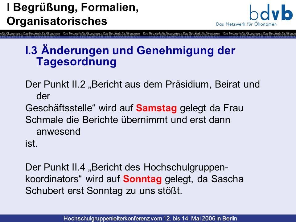Hochschulgruppenleiterkonferenz vom 12. bis 14. Mai 2006 in Berlin I.3 Änderungen und Genehmigung der Tagesordnung Der Punkt II.2 Bericht aus dem Präs