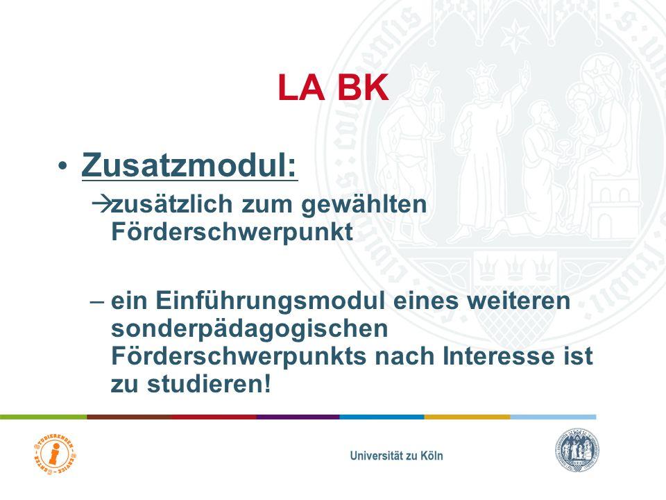 LA Gym/Ge Zusatzmodul: zusätzlich zum gewählten Förderschwerpunkt –das BM 1 BS 1 des nicht gewählten sonderpädagogischen Förderschwerpunkts ist zu stu