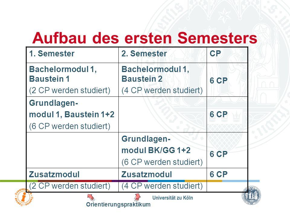 Übersicht 1.Aufbau des Studiums –Aufbau des ersten Semesters –Praktika –DozentInnen