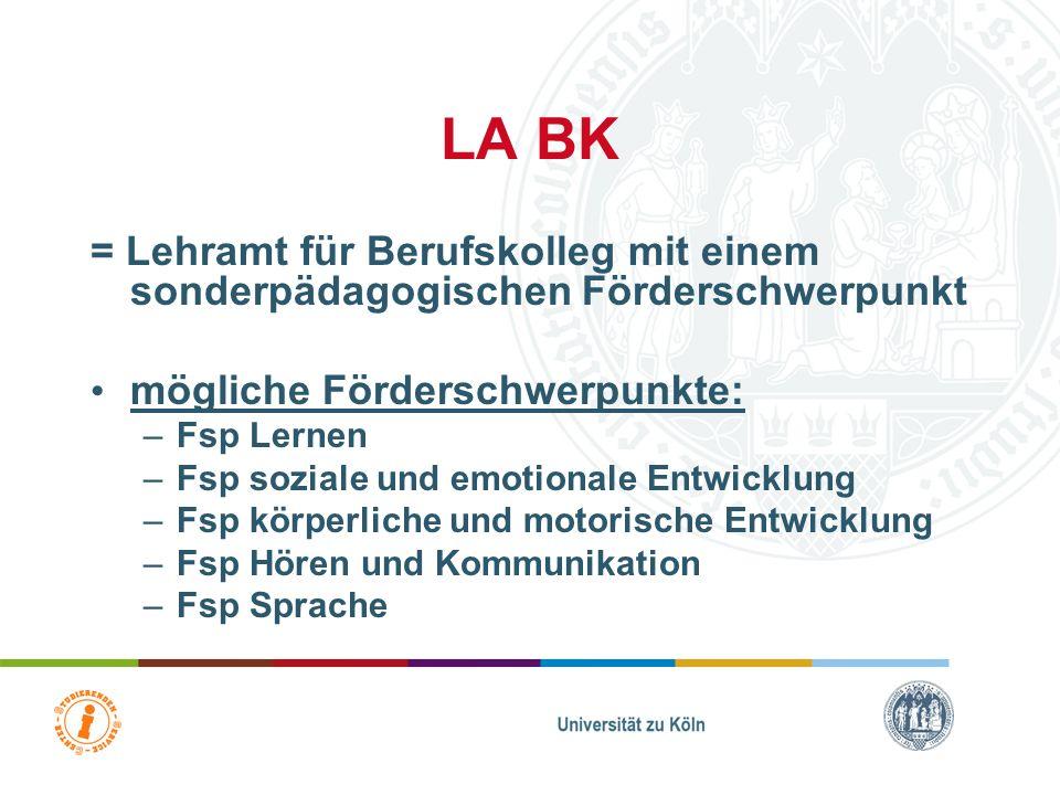 LA BK = Lehramt für Berufskolleg mit einem sonderpädagogischen Förderschwerpunkt mögliche Förderschwerpunkte: –Fsp Lernen –Fsp soziale und emotionale Entwicklung –Fsp körperliche und motorische Entwicklung –Fsp Hören und Kommunikation –Fsp Sprache