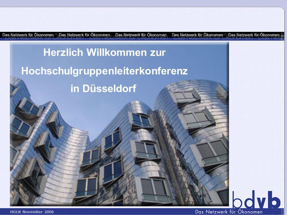 HGLK November 2006 Herzlich Willkommen zur Hochschulgruppenleiterkonferenz in Düsseldorf
