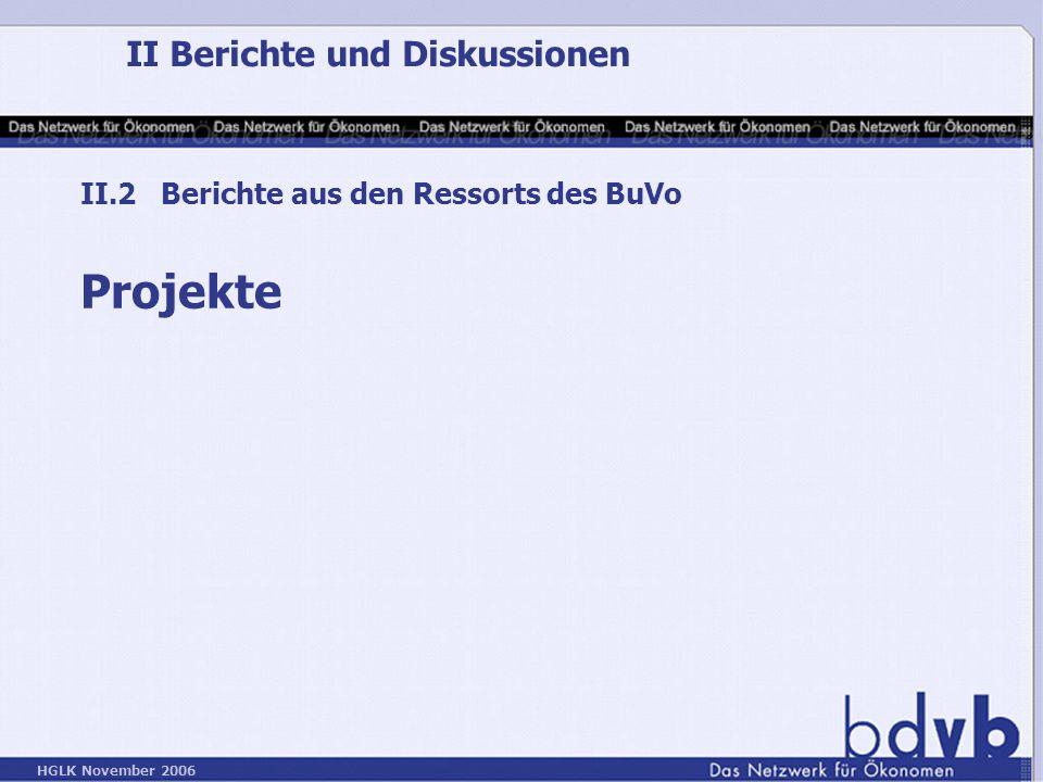 HGLK November 2006 II Berichte und Diskussionen II.2 Berichte aus den Ressorts des BuVo Projekte