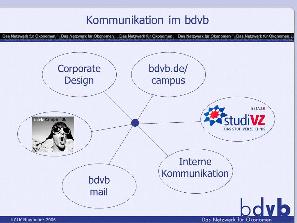 HGLK November 2006 Kommunikation im bdvb Corporate Design Interne Kommunikation bdvb.de/ campus bdvb mail