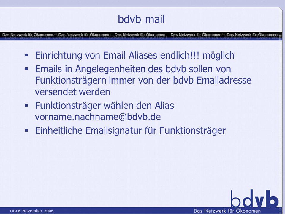 HGLK November 2006 bdvb mail Einrichtung von Email Aliases endlich!!.
