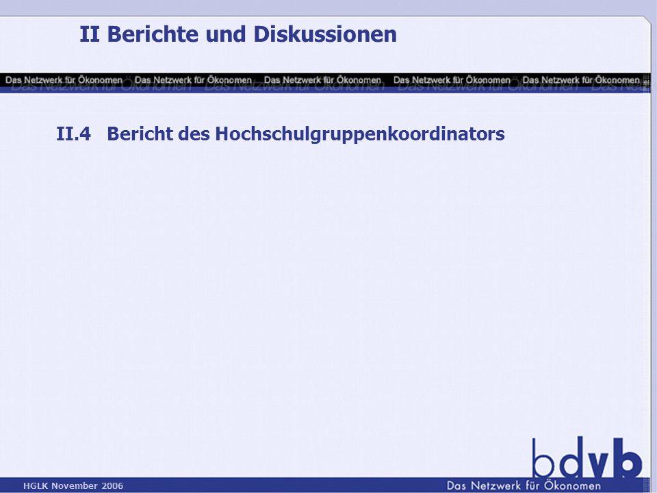 HGLK November 2006 II Berichte und Diskussionen II.4 Bericht des Hochschulgruppenkoordinators
