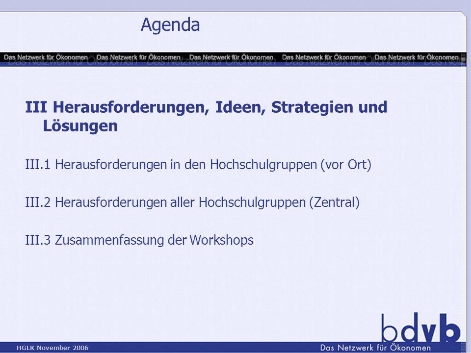 HGLK November 2006 Agenda III Herausforderungen, Ideen, Strategien und Lösungen III.1 Herausforderungen in den Hochschulgruppen (vor Ort) III.2 Herausforderungen aller Hochschulgruppen (Zentral) III.3 Zusammenfassung der Workshops