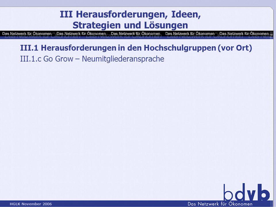 HGLK November 2006 III.1 Herausforderungen in den Hochschulgruppen (vor Ort) III.1.c Go Grow – Neumitgliederansprache III Herausforderungen, Ideen, Strategien und Lösungen