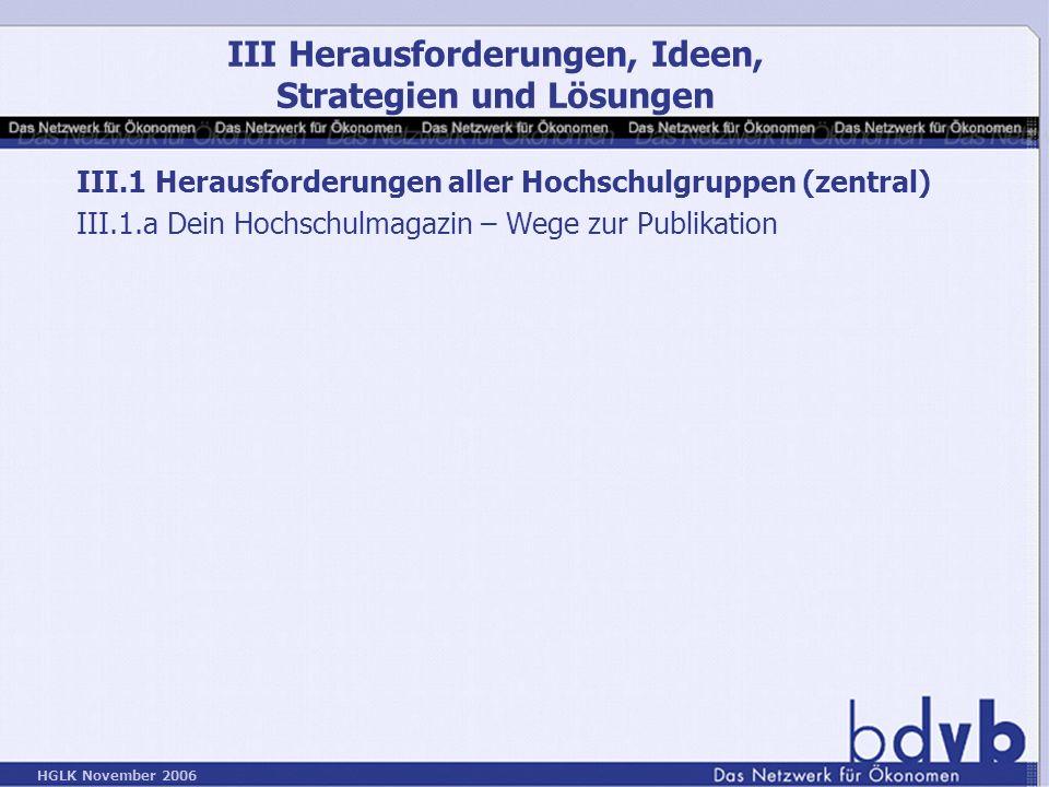 HGLK November 2006 III.1 Herausforderungen aller Hochschulgruppen (zentral) III.1.a Dein Hochschulmagazin – Wege zur Publikation III Herausforderungen, Ideen, Strategien und Lösungen