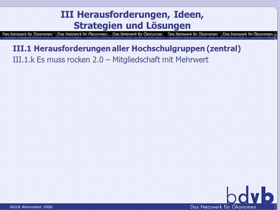 HGLK November 2006 III.1 Herausforderungen aller Hochschulgruppen (zentral) III.1.k Es muss rocken 2.0 – Mitgliedschaft mit Mehrwert III Herausforderungen, Ideen, Strategien und Lösungen
