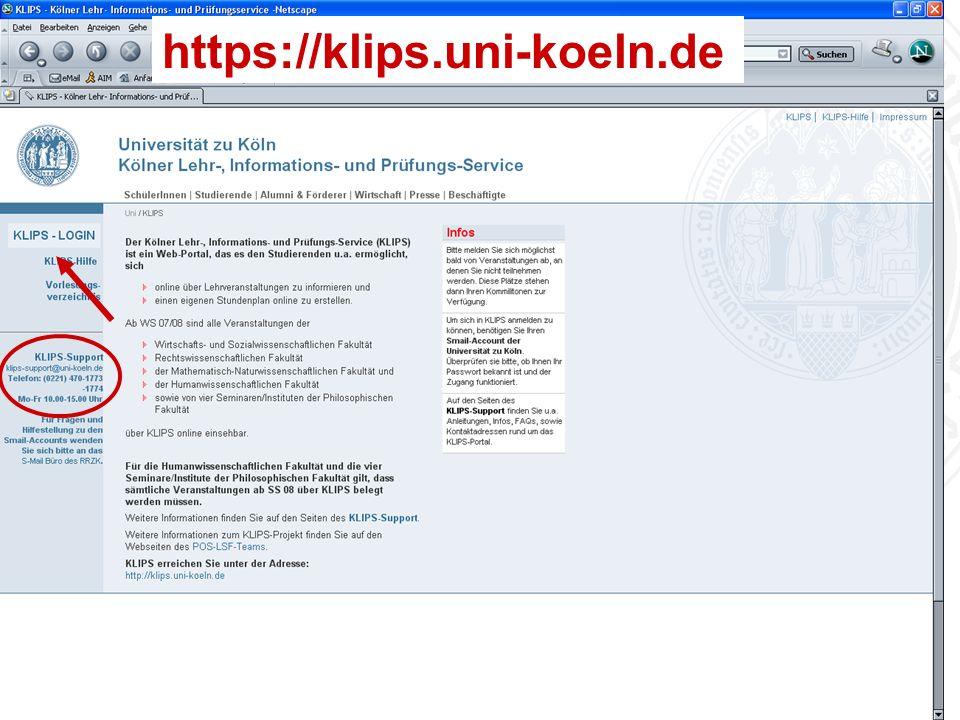 Erstsemestereinführung Bachelor Psychologie Universität zu Köln https://klips.uni-koeln.de
