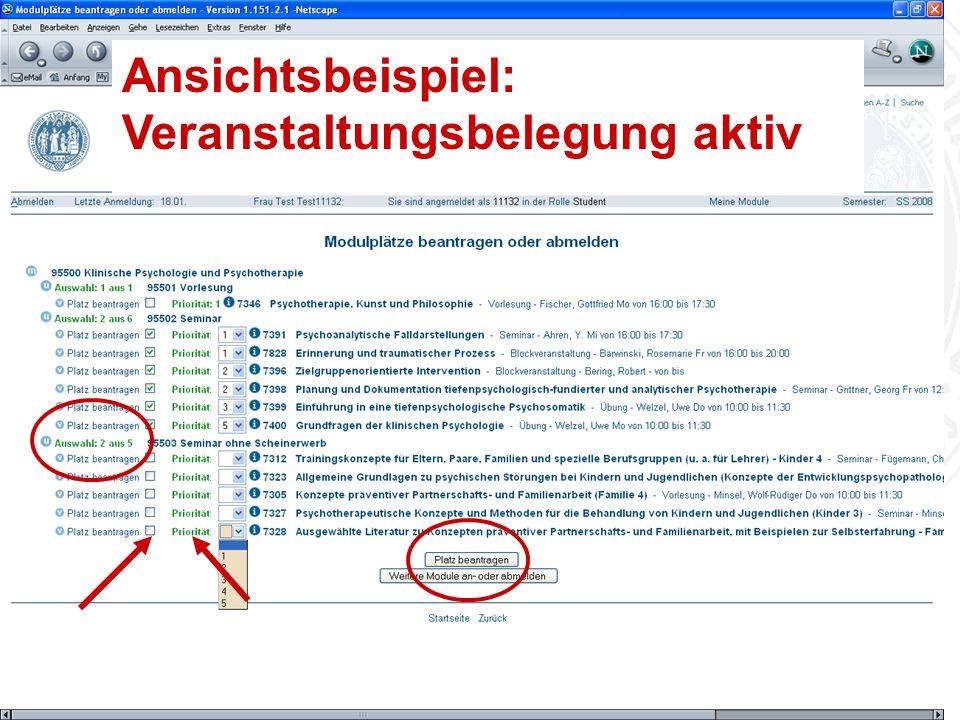 Erstsemestereinführung Bachelor Psychologie Universität zu Köln Ansichtsbeispiel: Veranstaltungsbelegung aktiv