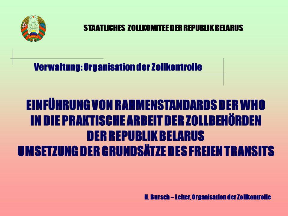 ZOLLTRANSIT IN DER REPUBLIK BELARUS International geltende Dokumente (Bescheinigung für intern.