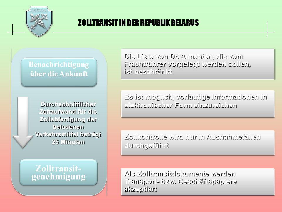 ZOLLTRANSIT IN DER REPUBLIK BELARUS Benachrichtigung über die Ankunft Zolltransit- genehmigung Durchschnittlicher Zeitaufwand für die Zollabfertigung