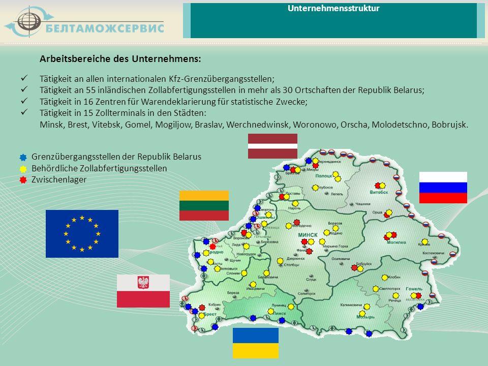 Unternehmensstruktur Arbeitsbereiche des Unternehmens: Tätigkeit an allen internationalen Kfz-Grenzübergangsstellen; Tätigkeit an 55 inländischen Zoll
