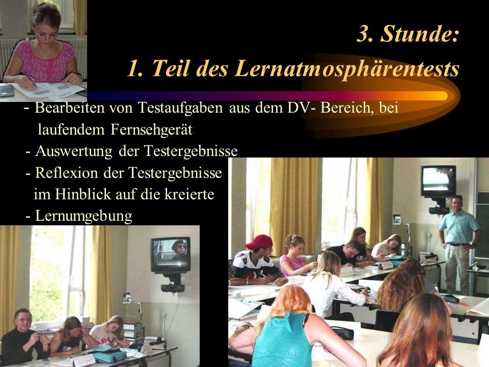 3. Stunde: 1. Teil des Lernatmosphärentests - Bearbeiten von Testaufgaben aus dem DV- Bereich, bei laufendem Fernsehgerät - Auswertung der Testergebni