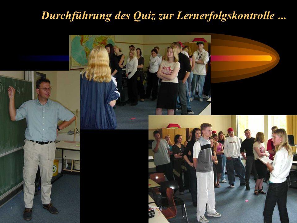 Durchführung des Quiz zur Lernerfolgskontrolle...