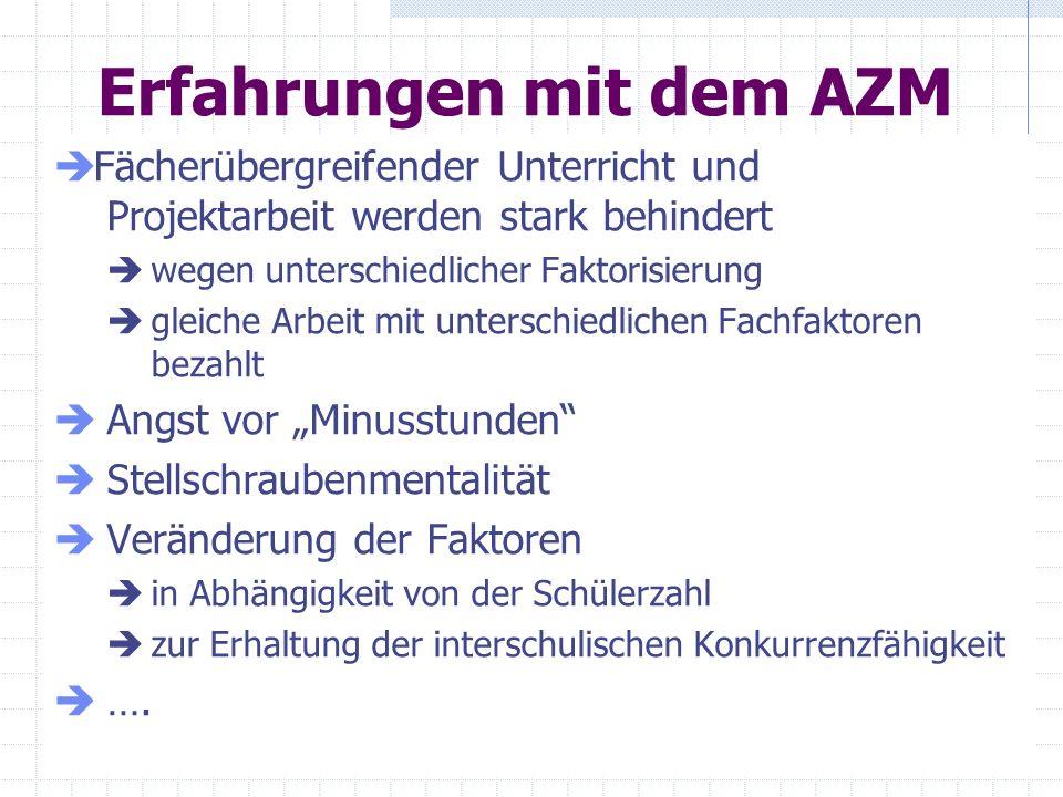 Erfahrungen mit dem AZM Fächerübergreifender Unterricht und Projektarbeit werden stark behindert wegen unterschiedlicher Faktorisierung gleiche Arbeit