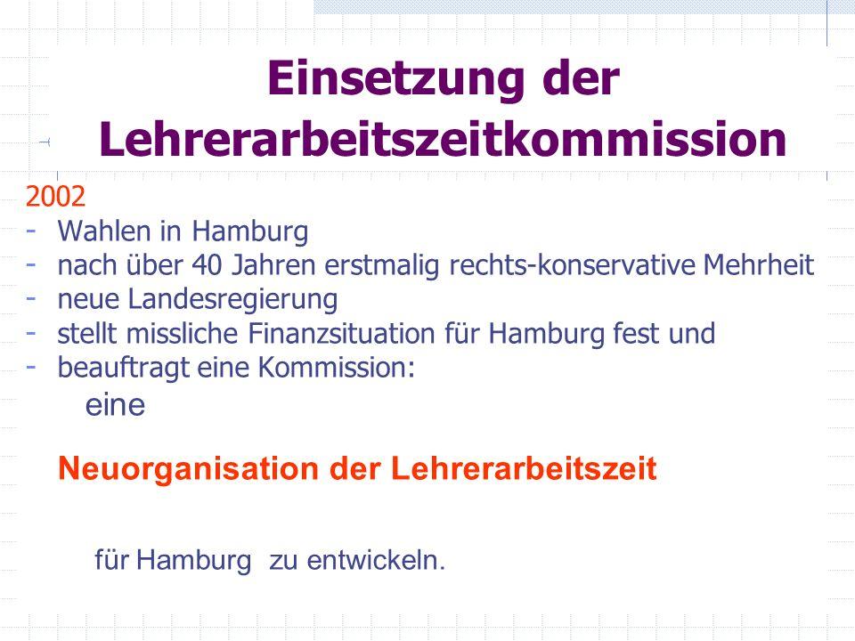 Einsetzung der Lehrerarbeitszeitkommission 2002 - Wahlen in Hamburg - nach über 40 Jahren erstmalig rechts-konservative Mehrheit - neue Landesregierun