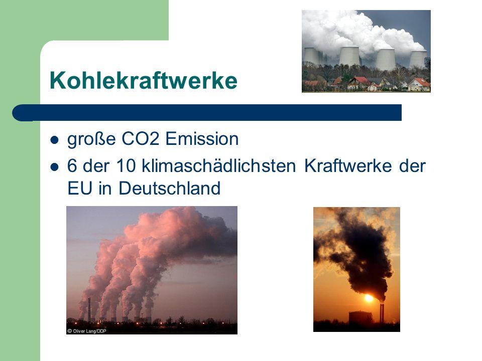 Kohlekraftwerke große CO2 Emission 6 der 10 klimaschädlichsten Kraftwerke der EU in Deutschland