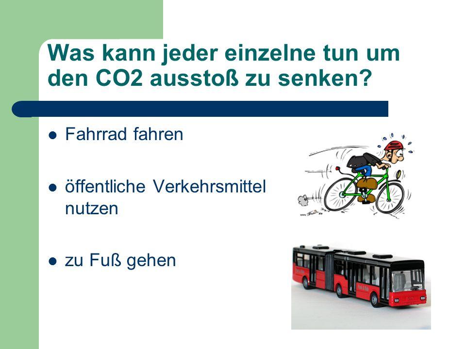 Was kann jeder einzelne tun um den CO2 ausstoß zu senken? Fahrrad fahren öffentliche Verkehrsmittel nutzen zu Fuß gehen