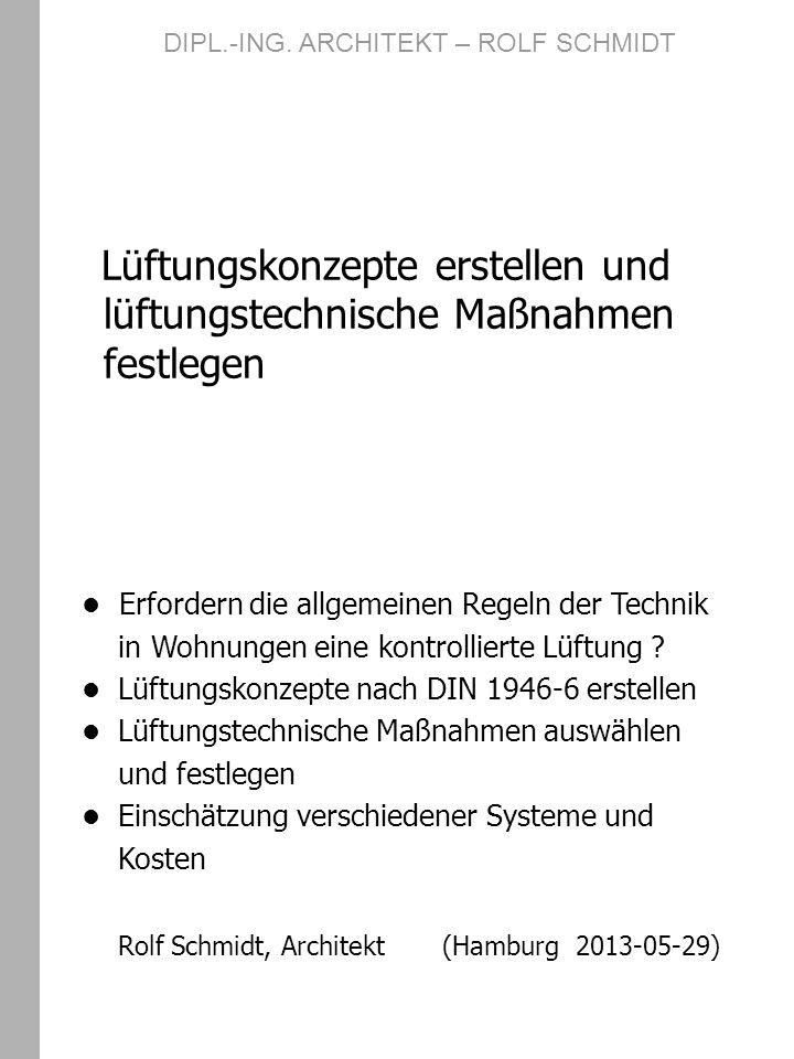 DIN 1946 – 6 Lüftung von Wohnungen seit Mai 2009 aktualisiert und veröffentlicht beinhaltet: Regeln für die Belüftung von Wohn- gebäuden (Neubau + Renovierung) Festlegungen von Grenzwerten und Berechnungsmethoden für den not- wendigen Luftaustausch auf der Grundlage von 4 Lüftungsstufen Nachweisverfahren, ob lüftungstech- nische Maßnahmen erforderlich sind DIPL.-ING.