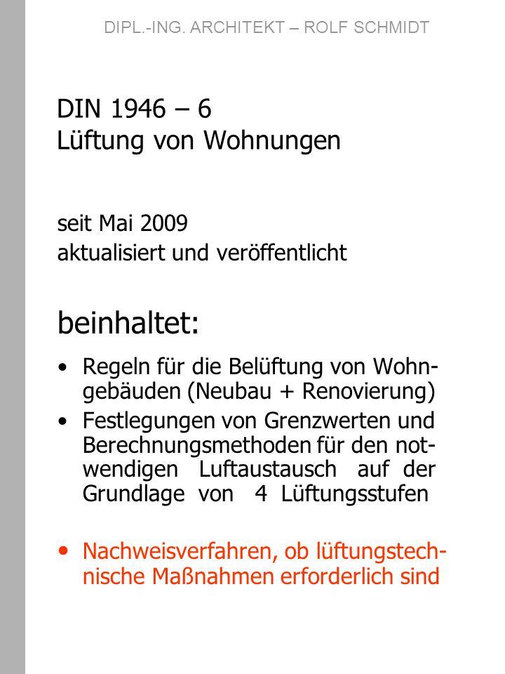DIN 1946 – 6 Lüftung von Wohnungen seit Mai 2009 aktualisiert und veröffentlicht beinhaltet: Regeln für die Belüftung von Wohn- gebäuden (Neubau + Ren