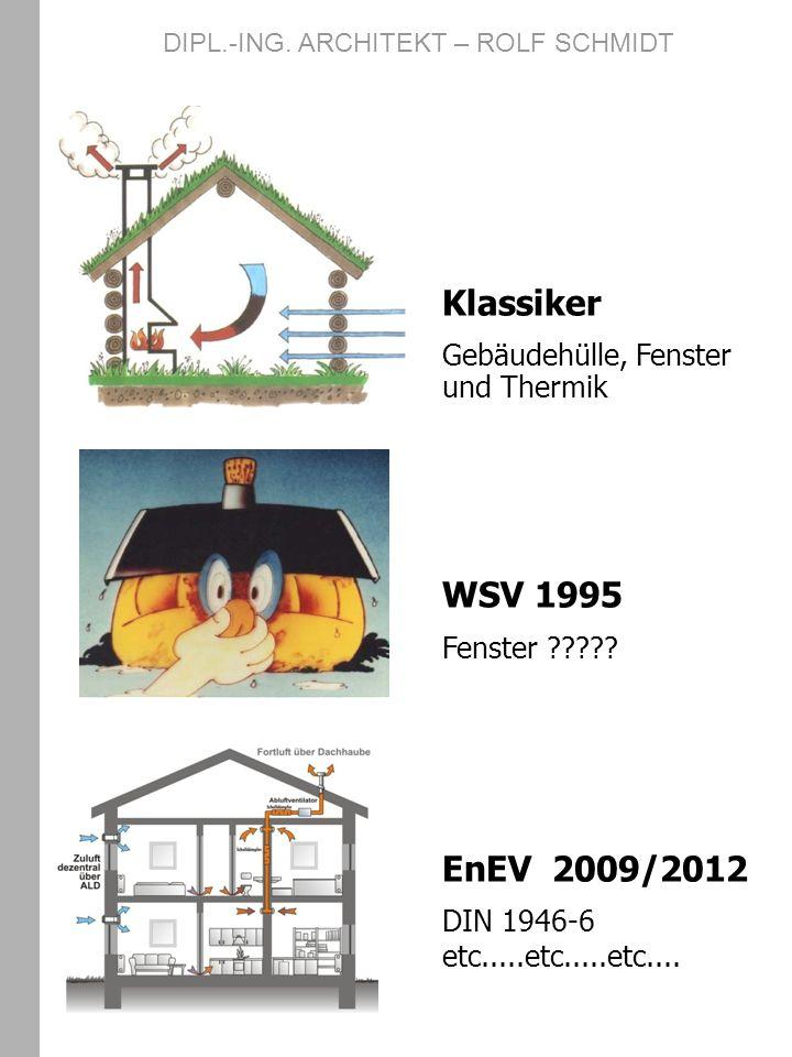 Klassiker Gebäudehülle, Fenster und Thermik WSV 1995 Fenster ????? EnEV 2009/2012 DIN 1946-6 etc.....etc.....etc.... DIPL.-ING. ARCHITEKT – ROLF SCHMI
