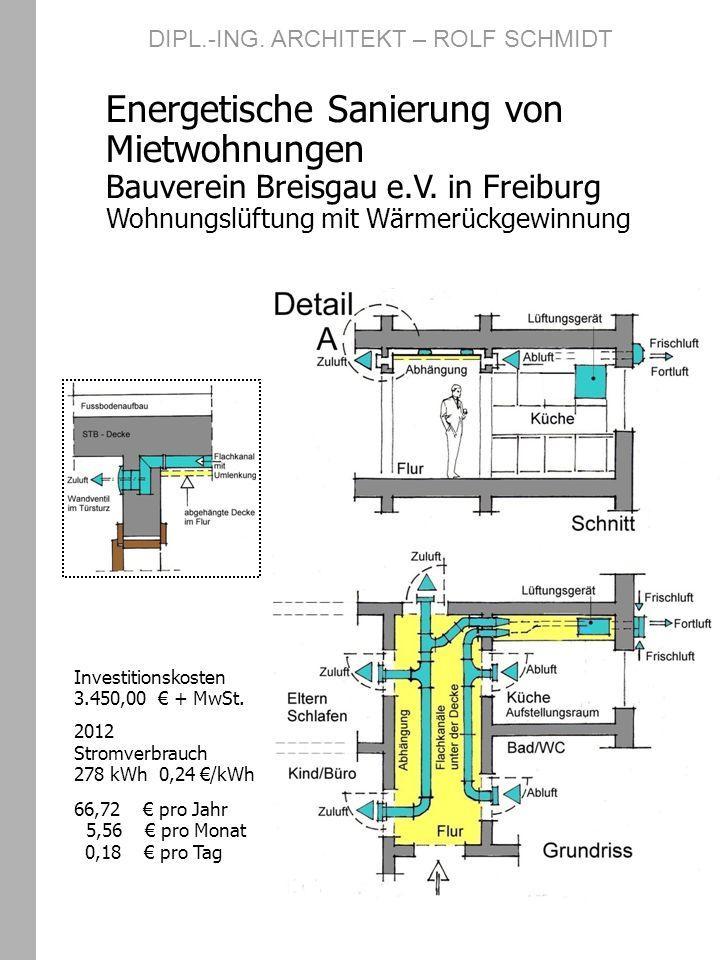 DIPL.-ING. ARCHITEKT – ROLF SCHMIDT Energetische Sanierung von Mietwohnungen Bauverein Breisgau e.V. in Freiburg Wohnungslüftung mit Wärmerückgewinnun