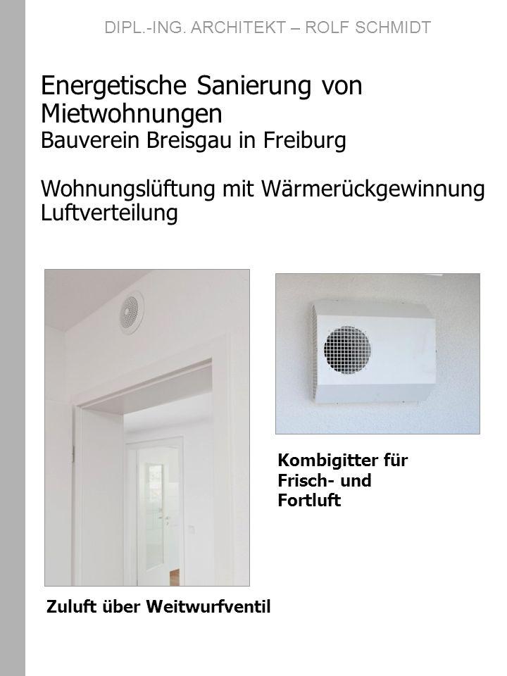 DIPL.-ING. ARCHITEKT – ROLF SCHMIDT Energetische Sanierung von Mietwohnungen Bauverein Breisgau in Freiburg Wohnungslüftung mit Wärmerückgewinnung Luf