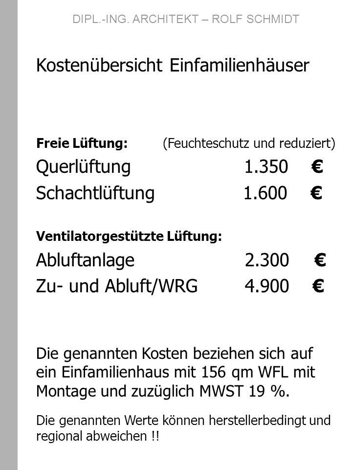 DIPL.-ING. ARCHITEKT – ROLF SCHMIDT Kostenübersicht Einfamilienhäuser Freie Lüftung: (Feuchteschutz und reduziert) Querlüftung 1.350 Schachtlüftung 1.