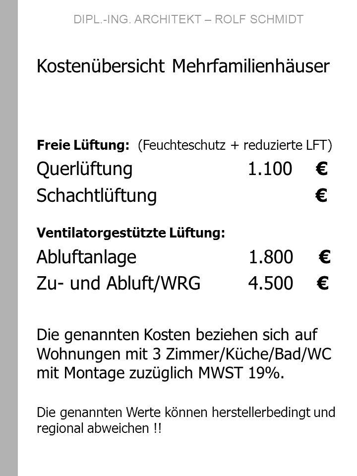 DIPL.-ING. ARCHITEKT – ROLF SCHMIDT Kostenübersicht Mehrfamilienhäuser Freie Lüftung: (Feuchteschutz + reduzierte LFT) Querlüftung 1.100 Schachtlüftun