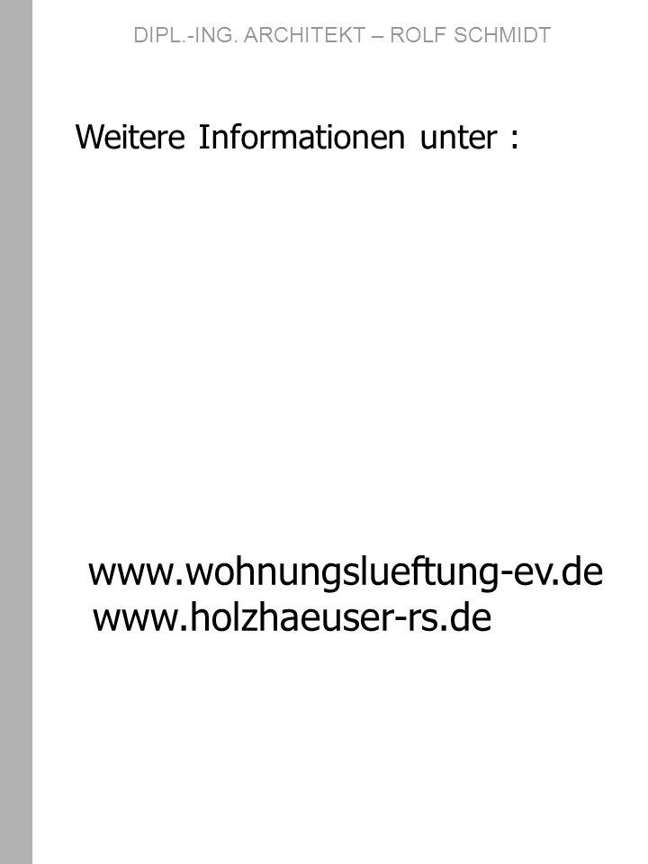 Weitere Informationen unter : www.wohnungslueftung-ev.de www.holzhaeuser-rs.de DIPL.-ING. ARCHITEKT – ROLF SCHMIDT