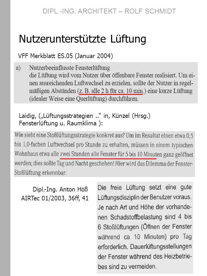 VFF Merkblatt ES.05 (Januar 2004) Nutzerunterstützte Lüftung Laidig, (Lüftungsstrategien.. in, Künzel (Hrsg.) Fensterlüftung u. Raumklima ): DIPL.-ING