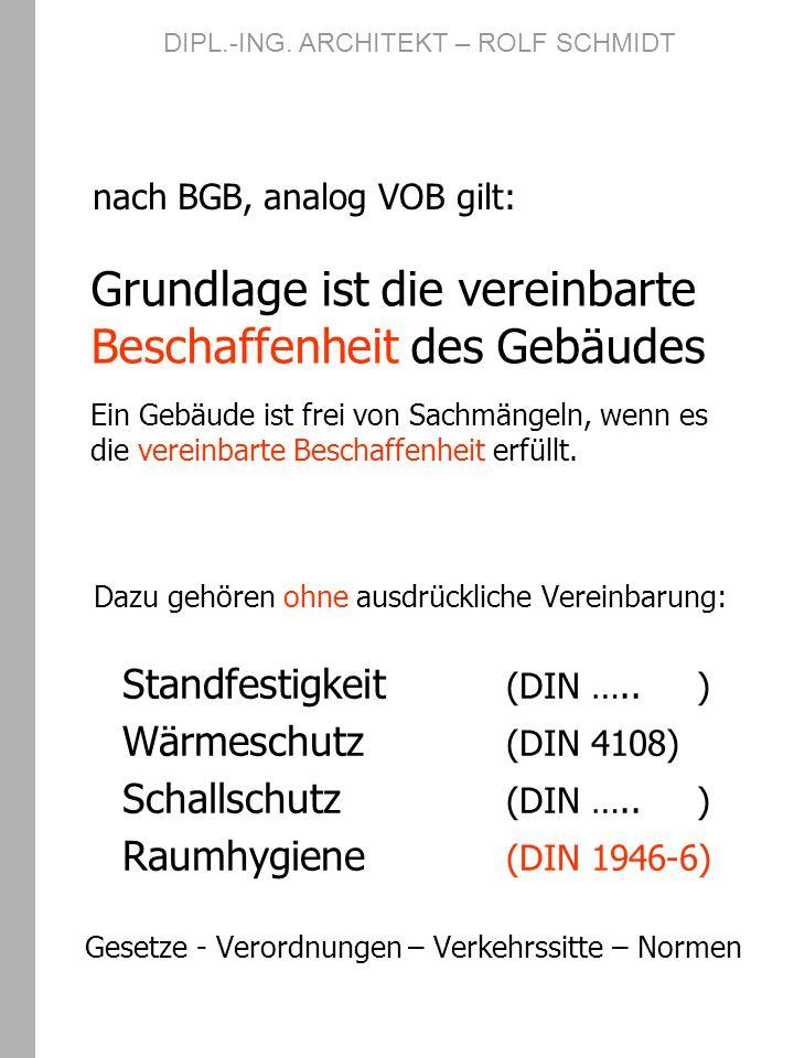 nach BGB, analog VOB gilt: Dazu gehören ohne ausdrückliche Vereinbarung: Standfestigkeit (DIN ….. ) Wärmeschutz (DIN 4108) Schallschutz (DIN ….. ) Rau