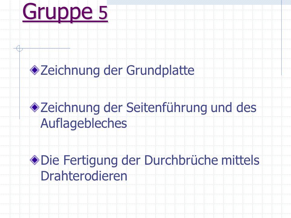 Was ist die Aufgabe von Gruppe 5! Seitenführung mit Auflageblech Grundplatte