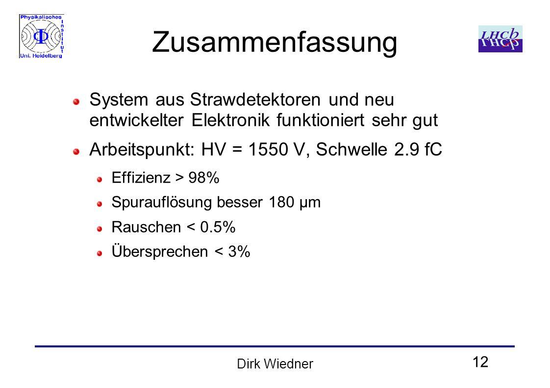 12 Dirk Wiedner Zusammenfassung System aus Strawdetektoren und neu entwickelter Elektronik funktioniert sehr gut Arbeitspunkt: HV = 1550 V, Schwelle 2.9 fC Effizienz > 98% Spurauflösung besser 180 μm Rauschen < 0.5% Übersprechen < 3%