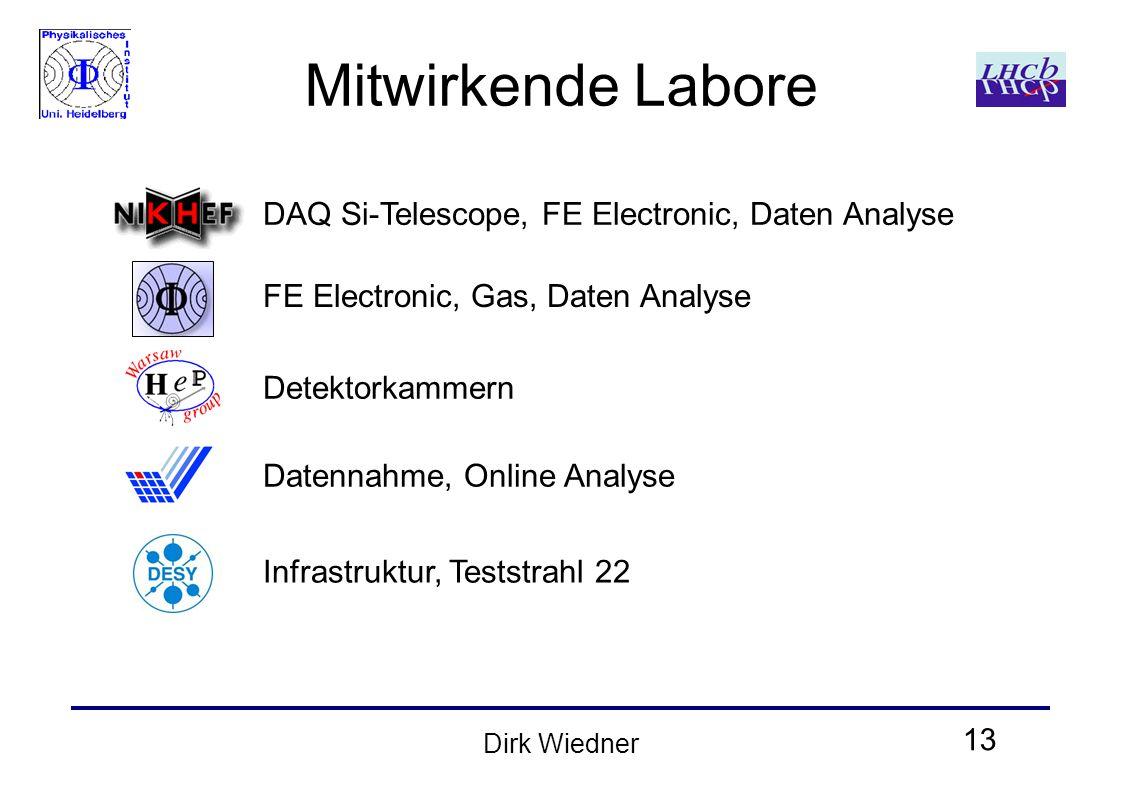 13 Dirk Wiedner Mitwirkende Labore DAQ Si-Telescope, FE Electronic, Daten Analyse FE Electronic, Gas, Daten Analyse Detektorkammern Datennahme, Online