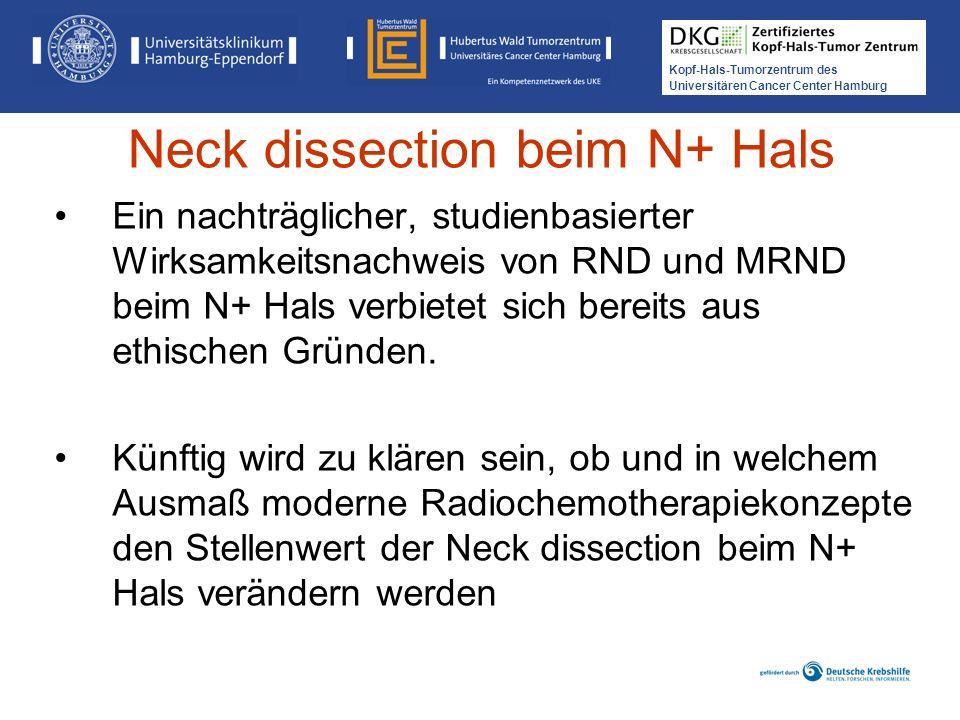 Kopf-Hals-Tumorzentrum des Universitären Cancer Center Hamburg Ein nachträglicher, studienbasierter Wirksamkeitsnachweis von RND und MRND beim N+ Hals