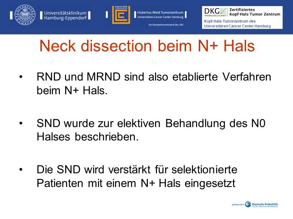 Kopf-Hals-Tumorzentrum des Universitären Cancer Center Hamburg RND und MRND sind also etablierte Verfahren beim N+ Hals. SND wurde zur elektiven Behan