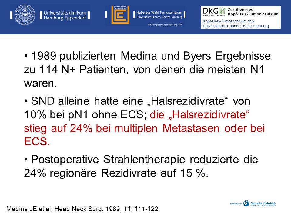 Kopf-Hals-Tumorzentrum des Universitären Cancer Center Hamburg 1989 publizierten Medina und Byers Ergebnisse zu 114 N+ Patienten, von denen die meiste
