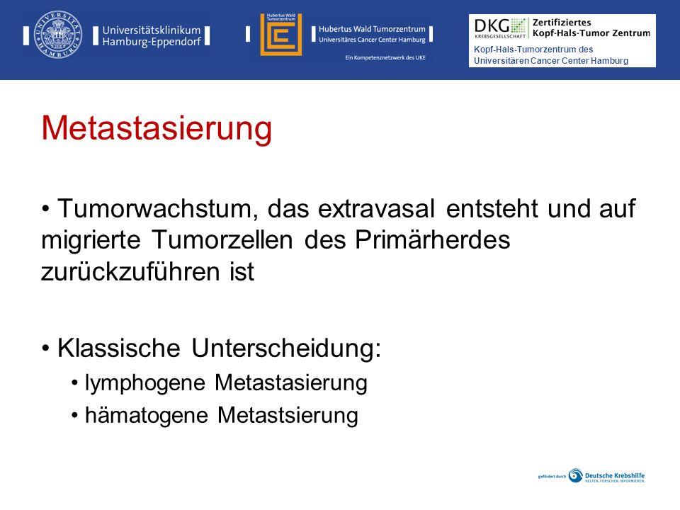Kopf-Hals-Tumorzentrum des Universitären Cancer Center Hamburg Metastasierung Tumorwachstum, das extravasal entsteht und auf migrierte Tumorzellen des