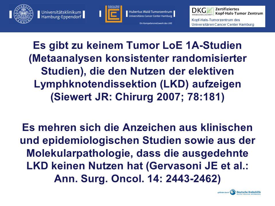 Kopf-Hals-Tumorzentrum des Universitären Cancer Center Hamburg Es gibt zu keinem Tumor LoE 1A-Studien (Metaanalysen konsistenter randomisierter Studie