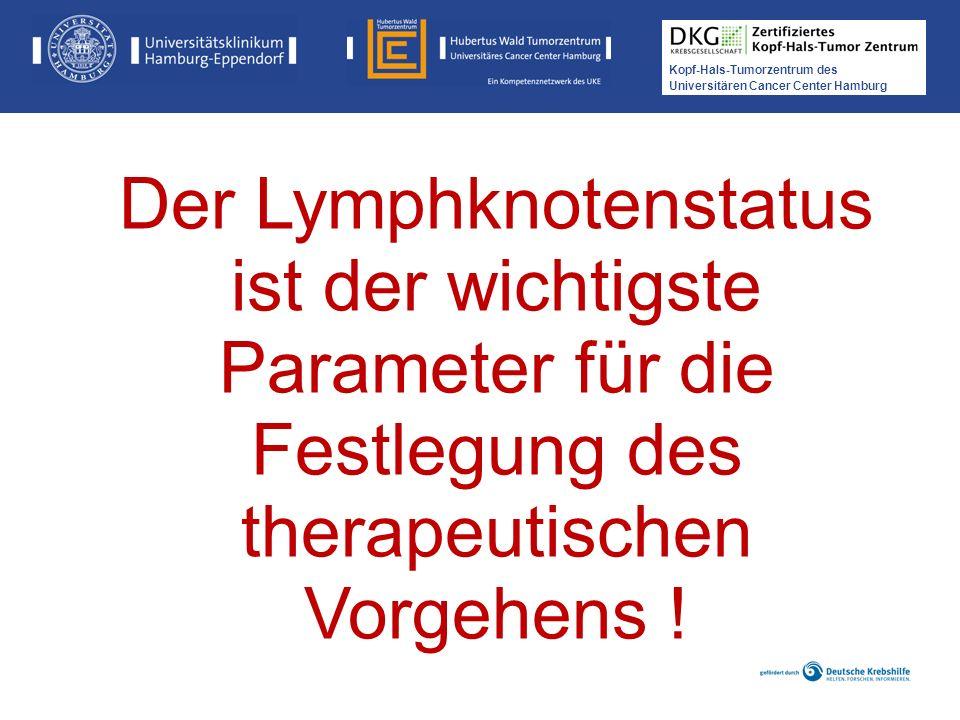 Kopf-Hals-Tumorzentrum des Universitären Cancer Center Hamburg Der Lymphknotenstatus ist der wichtigste Parameter für die Festlegung des therapeutisch