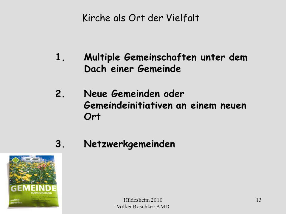 Hildesheim 2010 Volker Roschke - AMD 13 Kirche als Ort der Vielfalt 1.Multiple Gemeinschaften unter dem Dach einer Gemeinde 2.Neue Gemeinden oder Geme