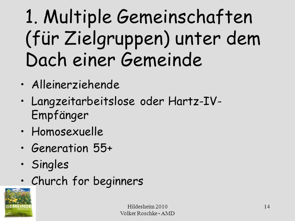 Hildesheim 2010 Volker Roschke - AMD 14 1. Multiple Gemeinschaften (für Zielgruppen) unter dem Dach einer Gemeinde Alleinerziehende Langzeitarbeitslos