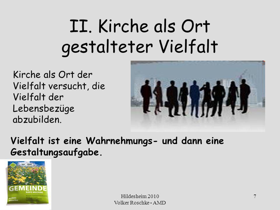 Hildesheim 2010 Volker Roschke - AMD 8 In nach-volkskirchlicher Zeit Kirche für alles Volk sein (Barmen VI) Welche Ausdrucks- und Gestaltungsformen braucht der Leib Christi in einer sich ändernden Welt.