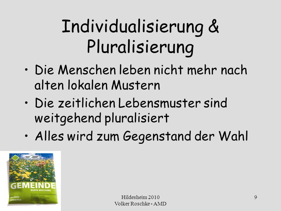 Hildesheim 2010 Volker Roschke - AMD 9 Individualisierung & Pluralisierung Die Menschen leben nicht mehr nach alten lokalen Mustern Die zeitlichen Leb