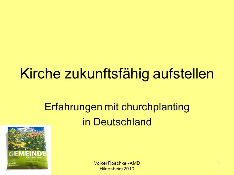 Volker Roschke - AMD Hildesheim 2010 22 Kirche zukunftsfähig aufstellen – Erfahrungen mit churchplanting in Deutschland I.Der weite Weg vom Vorsatz zur Verwirklichung II.Wie es gehen kann – Hilfen für die Praxis III.Kirche zukunftsfähig aufstellen – vier Impulse